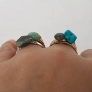 Natural Stone Boho Ring - Sterling or Gold