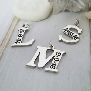 Add On Date and Initial Charm - Sterling Silver