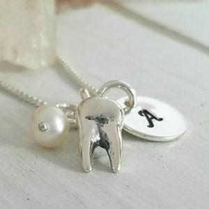 Dental Hygienist Tooth Necklace - Sterling Silver