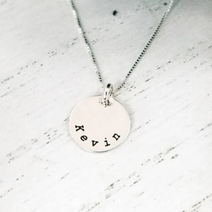 Circle Name Disc Necklace - 1/2 Inch - Sterling Silver