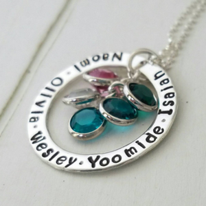 Multi Name Washer Style Necklace - Sterling Silver