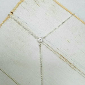 Lariat and Crystal Necklace - Y Necklace - Sterling Silver