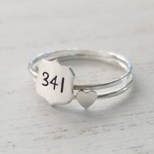 Police Wife Badge Number Ring - Sterling Silver