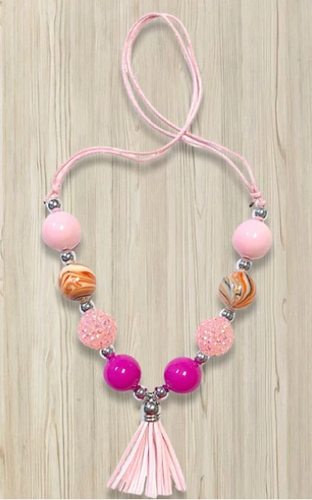 Light Pink Tassel Bubble Necklace