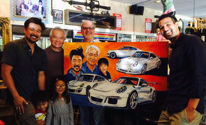 3 Generations of family, 4 generations of Porsche! Painting by Telfer