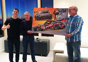 Racer Michael Lewis and his father Steve Lewis, with artist Kelly Telfer