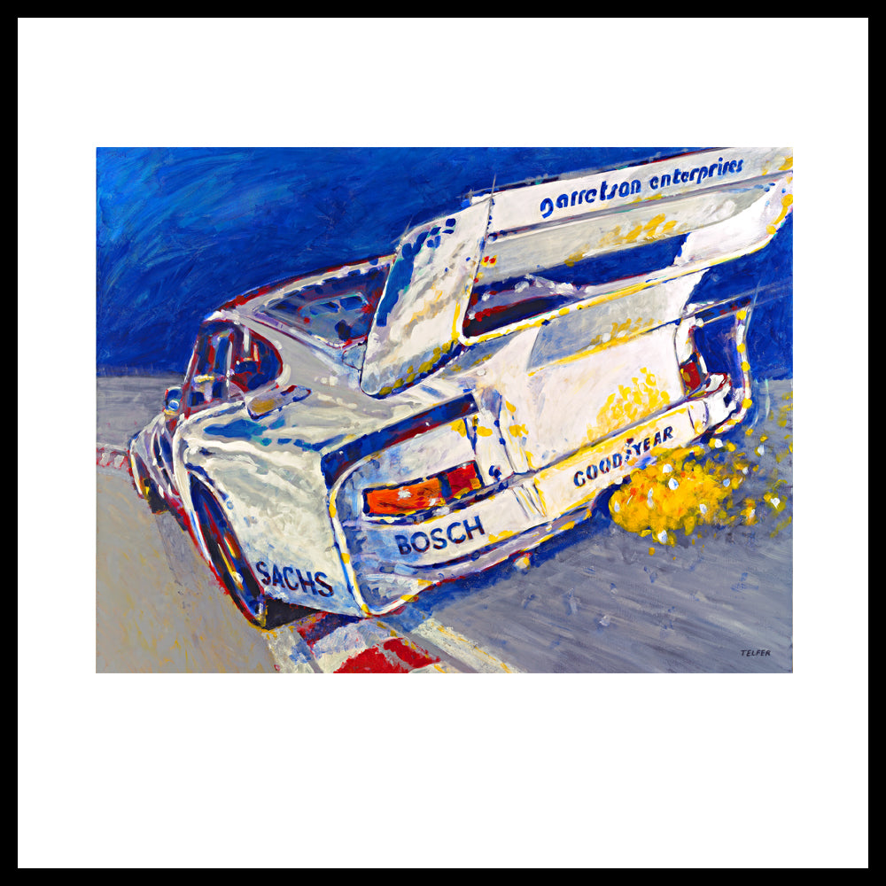 "'Canepa Attacking the Corkscrew (935 Porsche)', 48"" x 60"", Acrylic on Canvas, Call for Price"