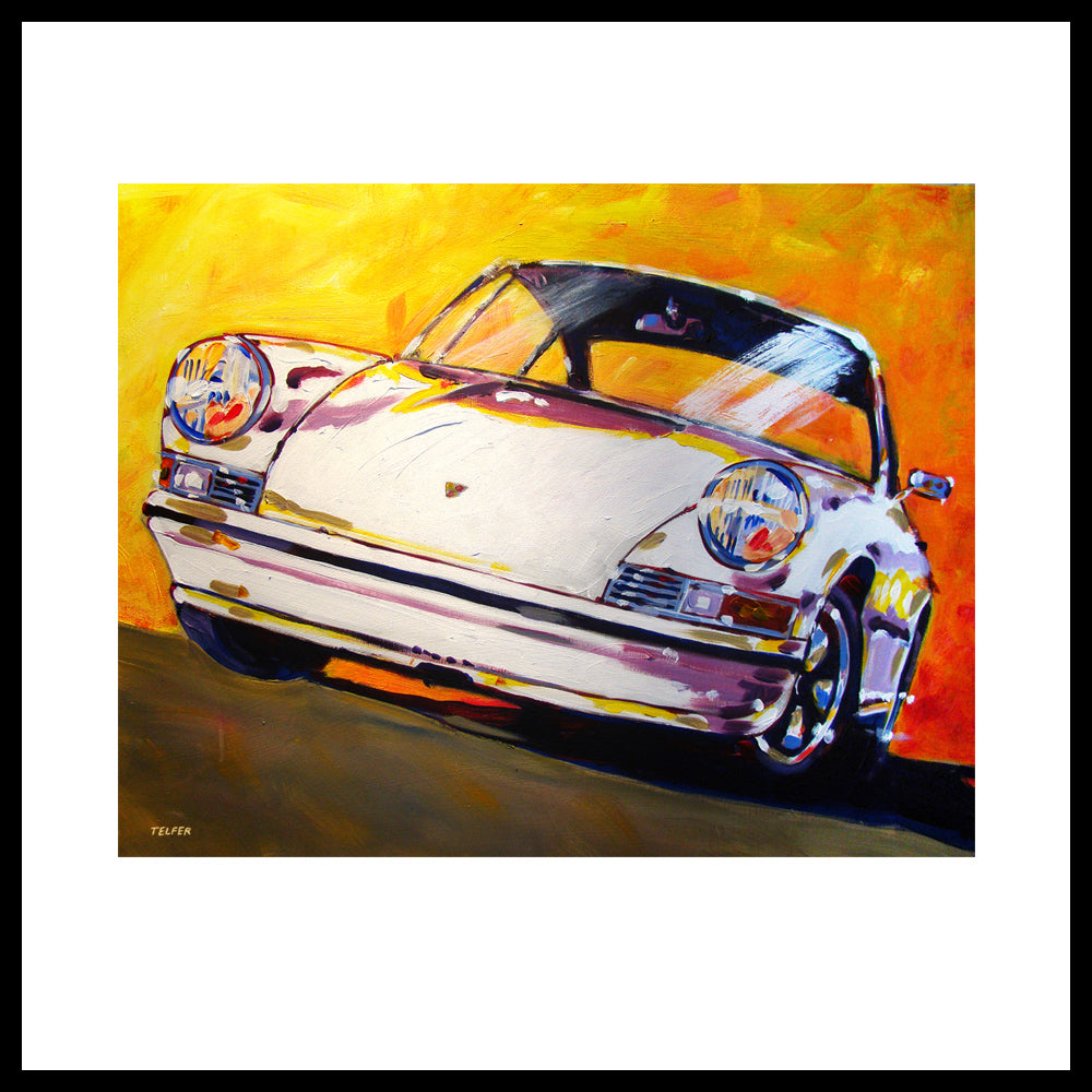 'White Early Porsche 911' Vintage Porsche Fine Art Prints