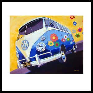 'Flower Power' 1960's VW Bus Volkswagen Fine Art Prints