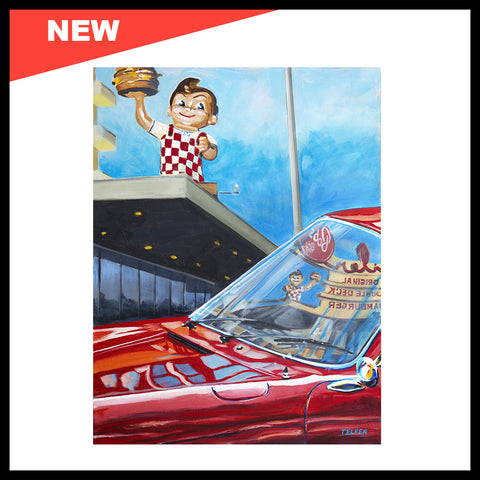 "NEW! 'Bob's Big Boy Reflected in Porsche 911 Windshield', 18"" x 24"", Acrylic on Canvas"