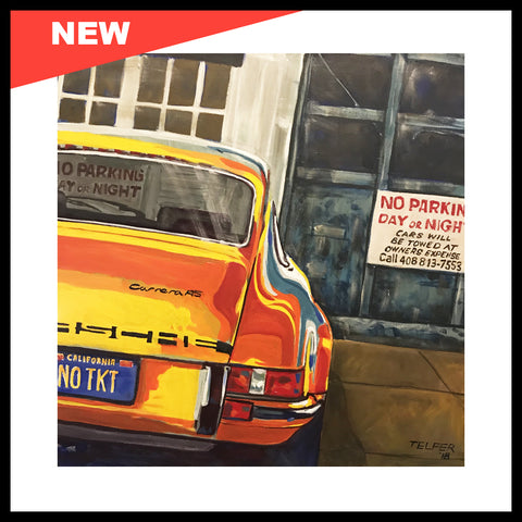 "NEW! 'No Ticket 911' Love these Carrera RS Porsche 911's! 24"" x 24"", Acrylic on Canvas, Call for Price"