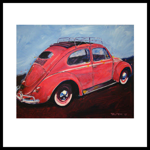 'Salmon VW Oval Sunroof' Volkswagen Bug Fine Art Prints