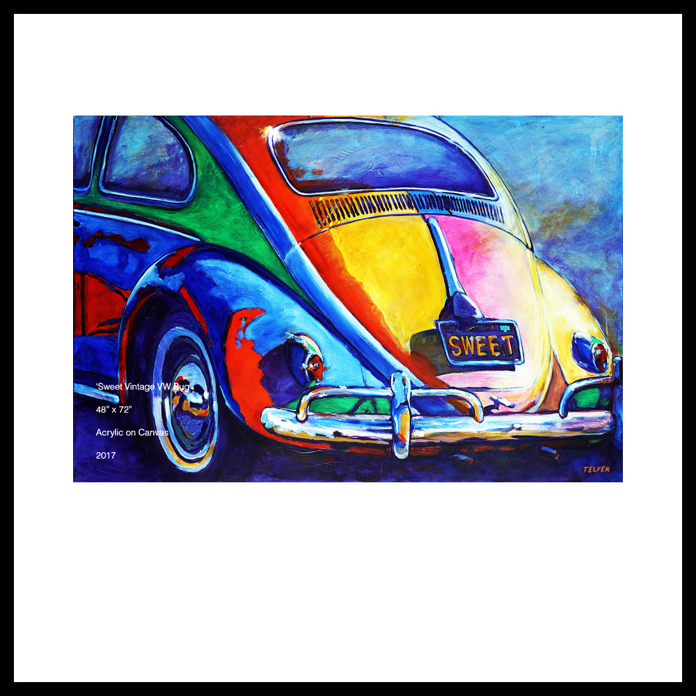 "'Sweet Vintage VW Bug', 48"" x 72"" Acrylic on Canvas"