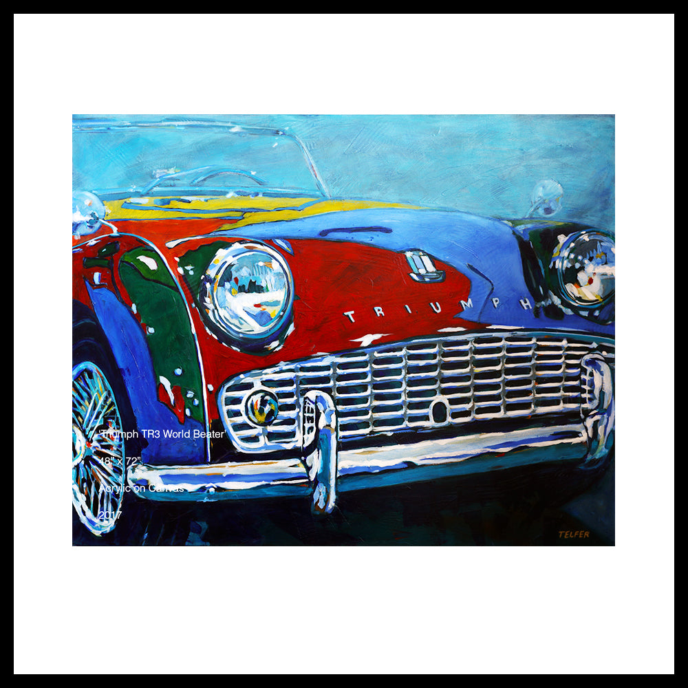 "SOLD! Triumph TR3 World Beater, Original Painting, 48"" x 60"""