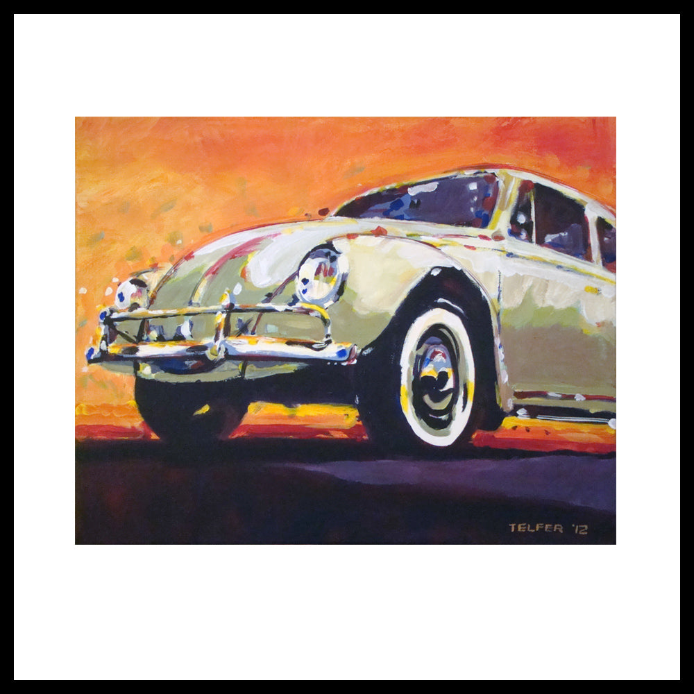 'Tan VW Bug' 1960's Volkswagen Fine Art Prints