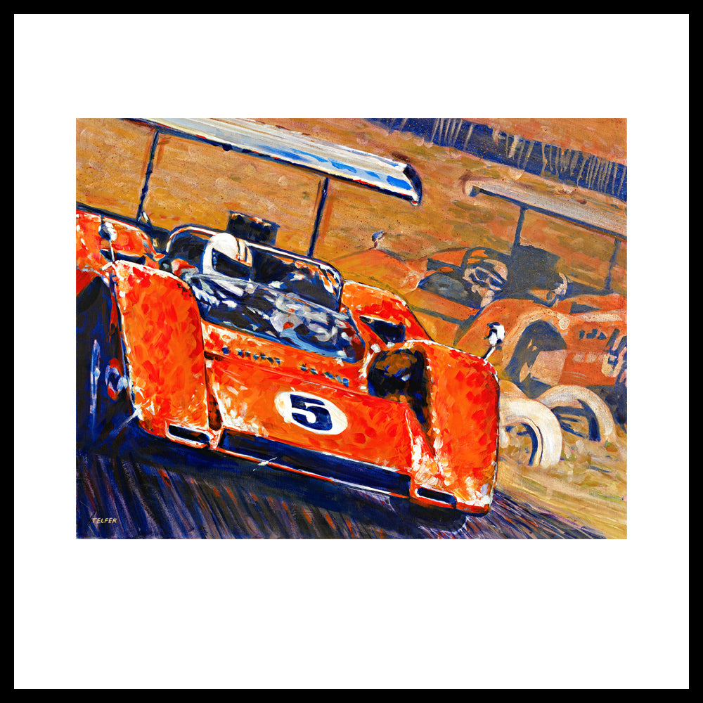'Two McLaren's - Can-Am Champions' Vintage Racing Art Prints