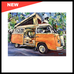 "NEW! 'VW Bus Bay Window Pop Top', 30"" x 40"", Acrylic on Canvas, Call for Price"