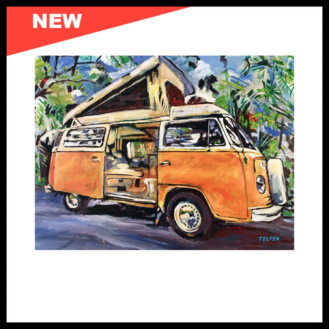 "NEW! 'VW Bus Bay Window Pop Top', 30"" x 40"", Acrylic on Canvas"