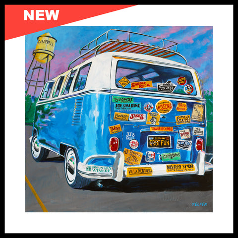"NEW! 'VW Bus Stickermania', 24"" x 24"", Acrylic on Canvas"