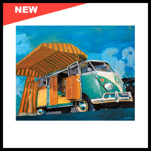 "NEW! 'Westy VW Bus', 24"" x 30"", Acrylic on Canvas, Call for Price"