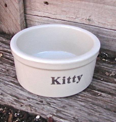 Kitty Water & Food Stoneware Dish