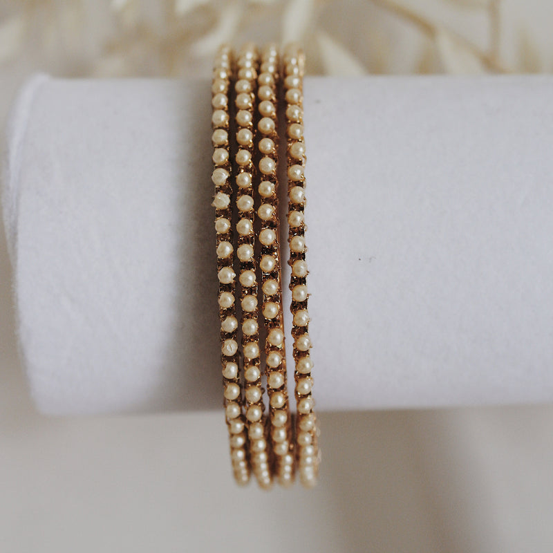 Thin Gold/Pearl Bangles