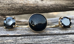 Black Cz Obsidian on Gold 3cap - Valou ::: Home of the Original 3cap ring design :::
