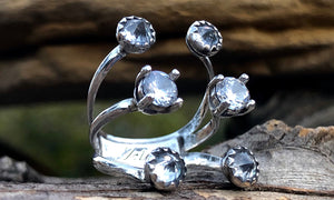 Clear CZ W6 - Valou ::: Home of the Original 3cap ring design :::