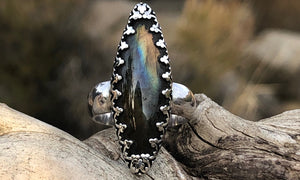 Golden Rainbow Labradorite ring - Valou ::: Home of the Original 3cap ring design :::