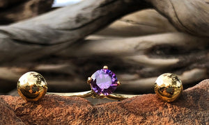 Pure 1 Gold / Purple Cz 3cap - Valou ::: Home of the Original 3cap ring design :::