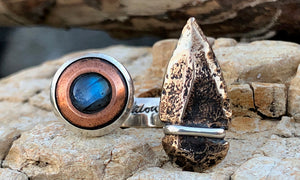 Labradorite - Copper Arrowhead 2cap - Valou ::: Home of the Original 3cap ring design :::