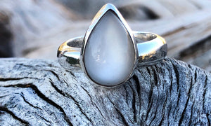 Teardrop Moonstone ring - Valou ::: Home of the Original 3cap ring design :::