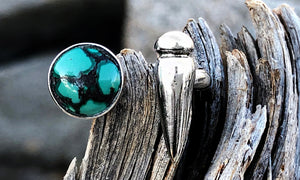 Point Turquoise 2cap - Valou ::: Home of the Original 3cap ring design :::