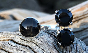 Black Star Diopside Double Cz 2cap - Valou ::: Home of the Original 3cap ring design :::