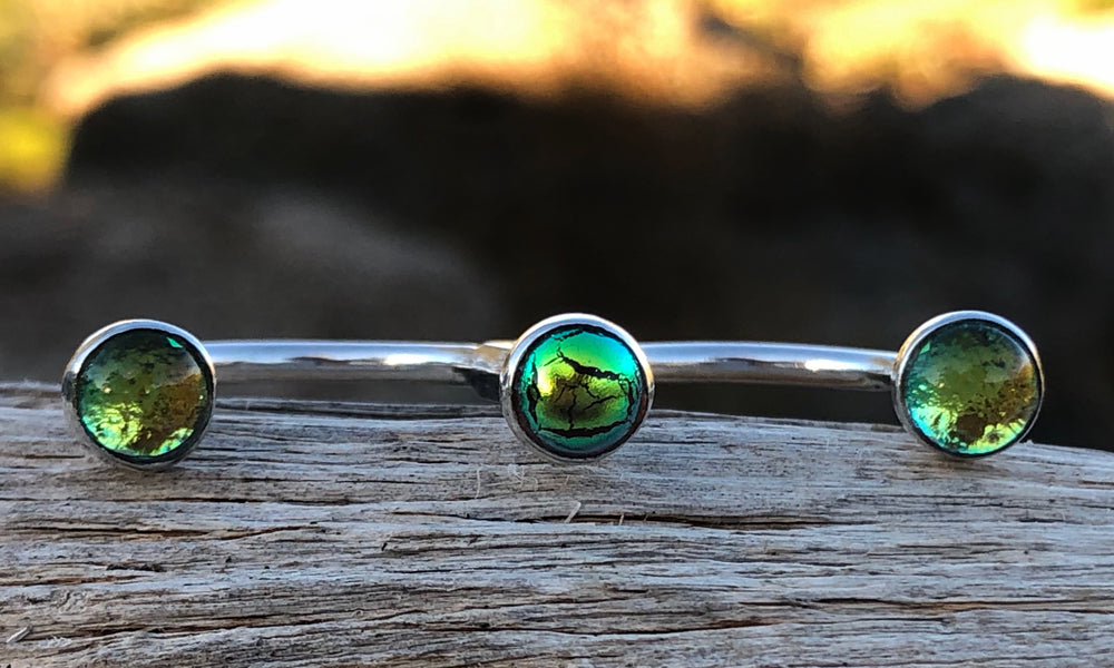 Golden Frosted Green minipod glass 3cap - Valou ::: Home of the Original 3cap ring design :::