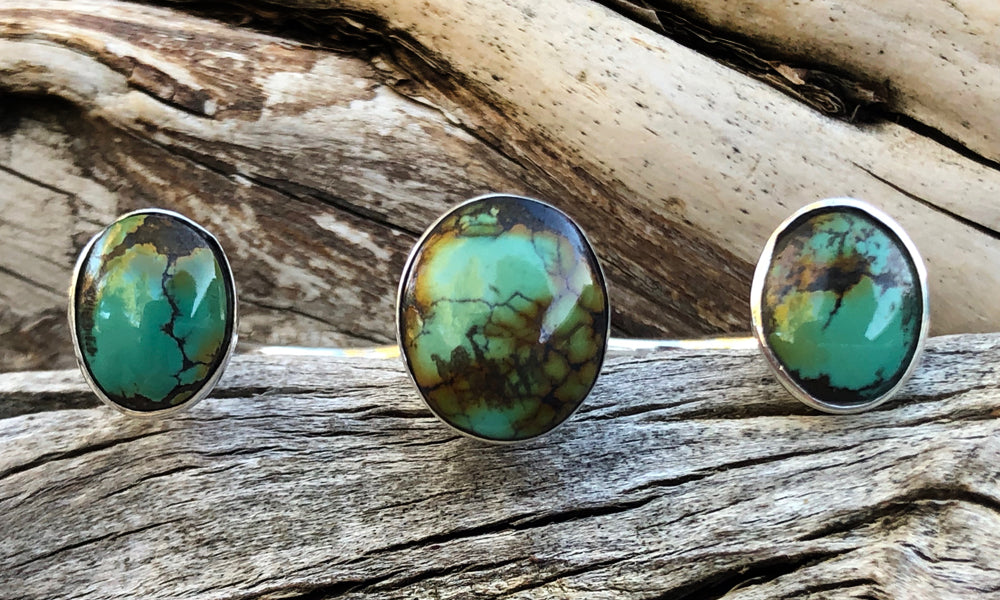 Small Oval Turquoise 3cap - Valou ::: Home of the Original 3cap ring design :::