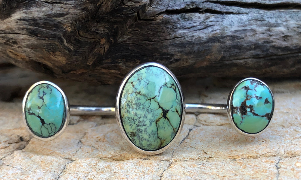 Oval Turquoise 3cap № 5 - Valou ::: Home of the Original 3cap ring design :::