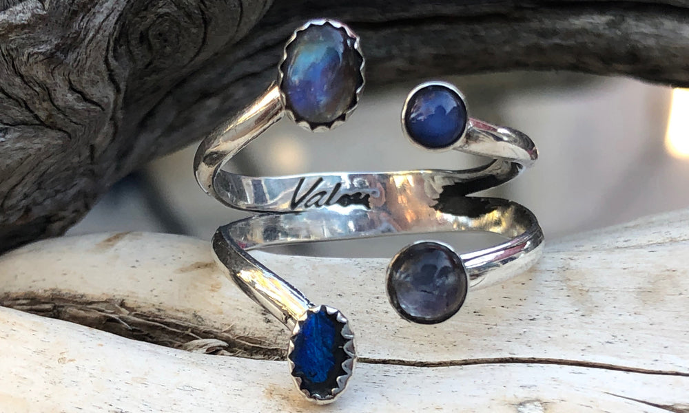 Blue Star ~ Opal ~ Moonstone X4 - Valou ::: Home of the Original 3cap ring design :::