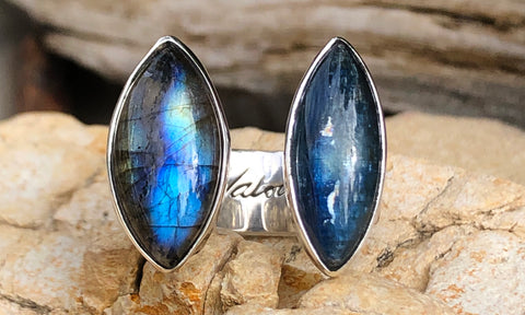 Kyanite and Labradorite 2cap ~ wide band - Valou ::: Home of the Original 3cap ring design :::