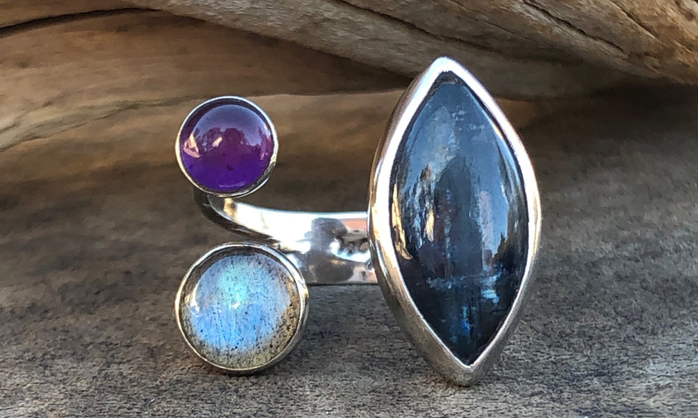 Kyanite/Moonstone/Amethyst Y3 - Valou ::: Home of the Original 3cap ring design :::