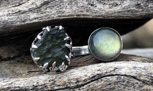 Moldavite/Labradorite 2cap - Valou ::: Home of the Original 3cap ring design :::