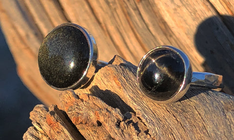 Star Diopside ~ Obsidian 2cap - Valou ::: Home of the Original 3cap ring design :::