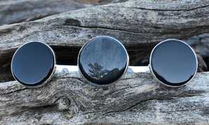 Flat Onyx/Obsidian 3cap - Valou ::: Home of the Original 3cap ring design :::