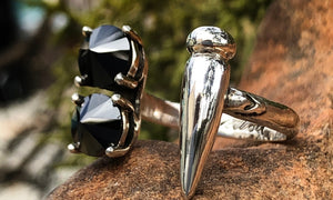 Reverse Black CZ Spike ring - Valou ::: Home of the Original 3cap ring design :::