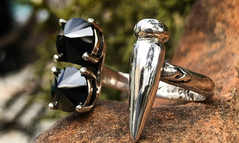 Reverse Black CZ Spike ring