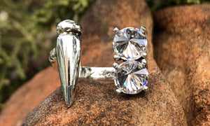 Reverse Clear CZ Spike ring - Valou ::: Home of the Original 3cap ring design :::