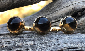 Smoky Quartz Bullet Gold 3cap - Valou ::: Home of the Original 3cap ring design :::