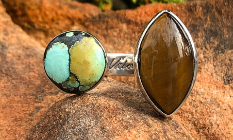 Turquoise and Tiger's Eye 2cap - Valou ::: Home of the Original 3cap ring design :::