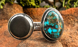 Turquoise and Greek Leather 2cap - Valou ::: Home of the Original 3cap ring design :::