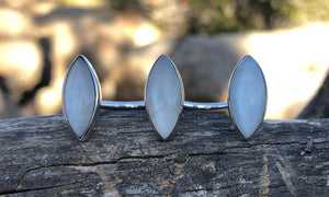 White Moonstone Marquise 3cap - Valou ::: Home of the Original 3cap ring design :::